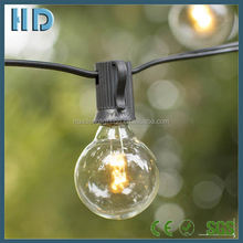 Warm white garden patio party globe string lights with g40 e12 led clear glass light bulb