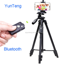 YunTeng professional Adjustable black Aluminium selfie stcik Tripod VCT-5208 with bluetooth remote shutter for smart phone