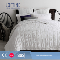 NEW design square Seersucker white cotton bedding set/pillow cover/bed sheets