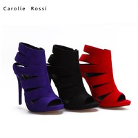 Red suede high heel ladies roman sandals king