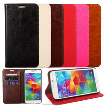 Hot cover Crazy horse genuine leather For samsung Galaxy S5 leather case with many colors