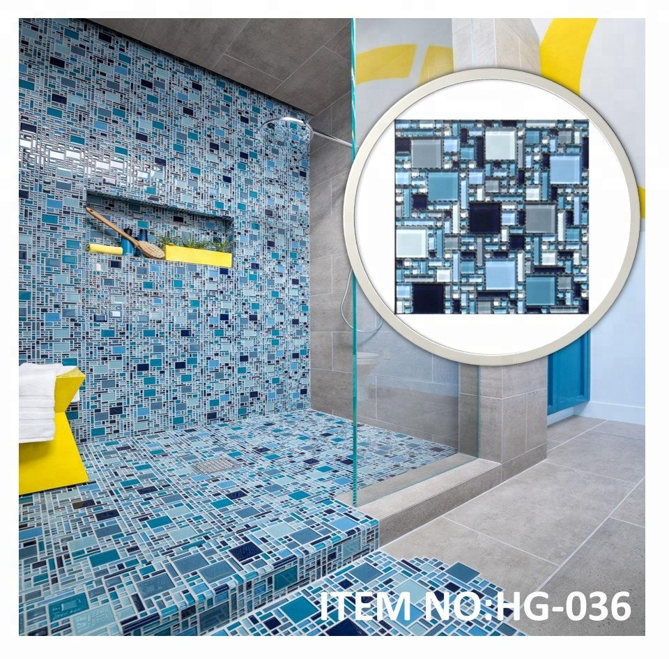 Home Depot Glass Mosaic Blue Tile For Shower Room - Buy Blue Tile ...