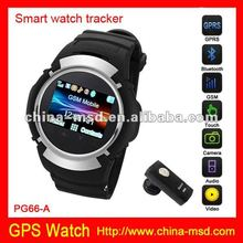 2012 new arrived GSM quad band GPS tracker watch phone PG66-G support Real-time tracking, positon, SOS and phone