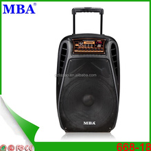 MBA hot selling wireless portable trolley speaker with subwoofer,fm radio,bluetooth