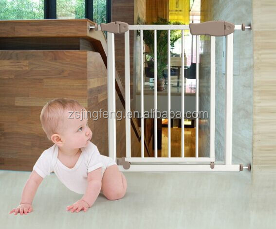 High Quality Double Lock Baby Safety Gate,Auto Close Metal Baby Gate For Door And Stair