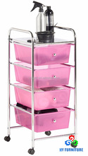 4-tiers plastic kitchen trolley wire top rolling cart with drawer and shelves home furniture