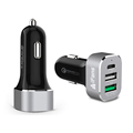 45W Black Factory Wholesale 3USB QC 3.0 Certificated Aluminium Car Charger