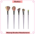 2017 PRO 5PCS Hotsale Fashional Diamond type unicorn shape with private label makeup brush set