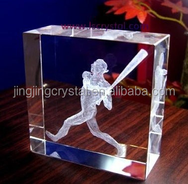 Crystal 3D Laser Etched Glass Cubes For Sports Souvenirs