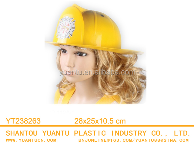 Promotional Kids Plastic Yellow Career Fire Hat 150g Safety Helmet Toy