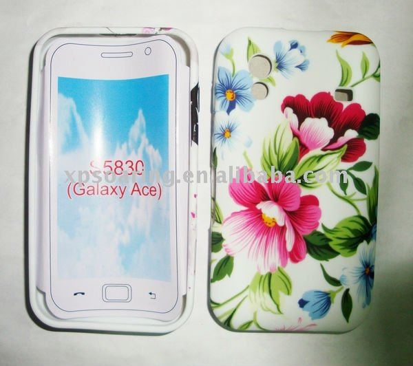 Flower TPU rubber case skin back cover for Samsung S5830 Galaxy ACE