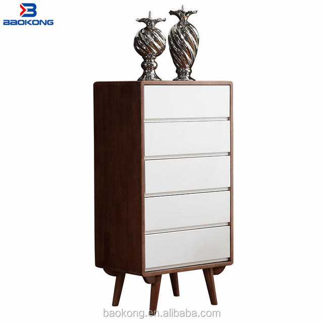 Dark Colour Walnut Wood Chest Of Drawers Drawing Room Display Cabinet