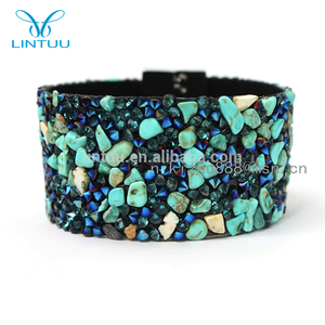 Whole Jewelry New Fashion Leather Bracelet Turquoise Stone Copper Magnetic