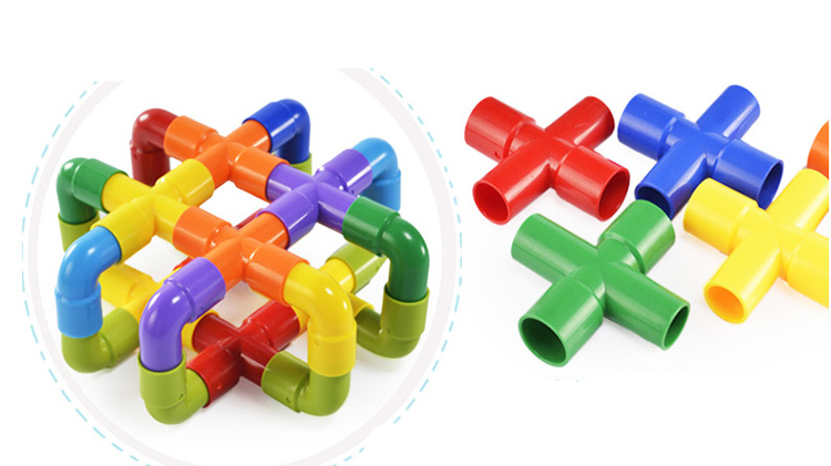 colorful puzzle pipe toy connecting plastic building block
