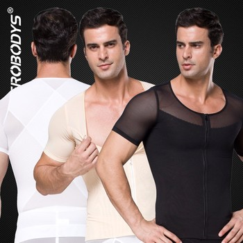 389 ZEROBODYS Powerful 180g Powernet Zipper With Hook Eye Closure Short Sleeve Mens Spandex Bodysuit Slimming Body Shaper
