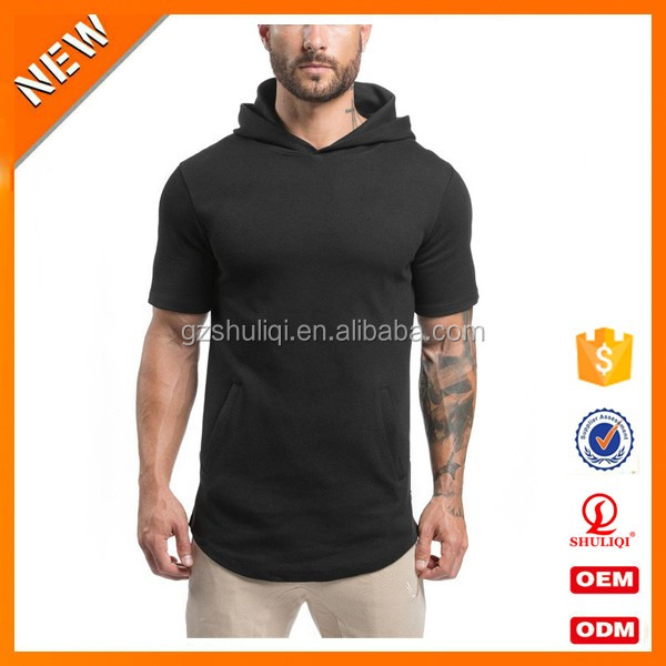 Muscle men sublimation sweatshirt short sleeve black sweatshirt pullover plain fitted hoodie