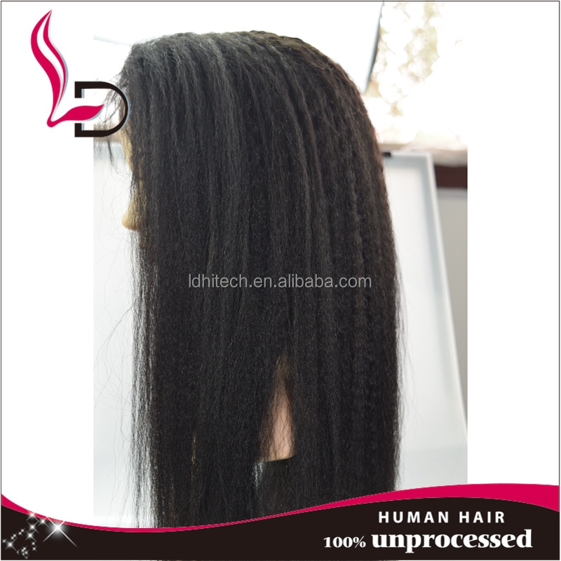 Large stock top quality wholesale human hair lace wigs for small heads yaki perm straight hair wigs human hair