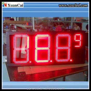 Red 12 inch LED waterproof yellow led gas station price sign
