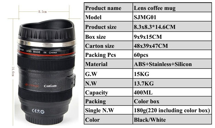 2016 china hot sale high quality camera lens mug