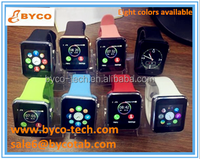 8 colorful silicone bands a1 smart watch sim touch screen watch mobile phone for kids