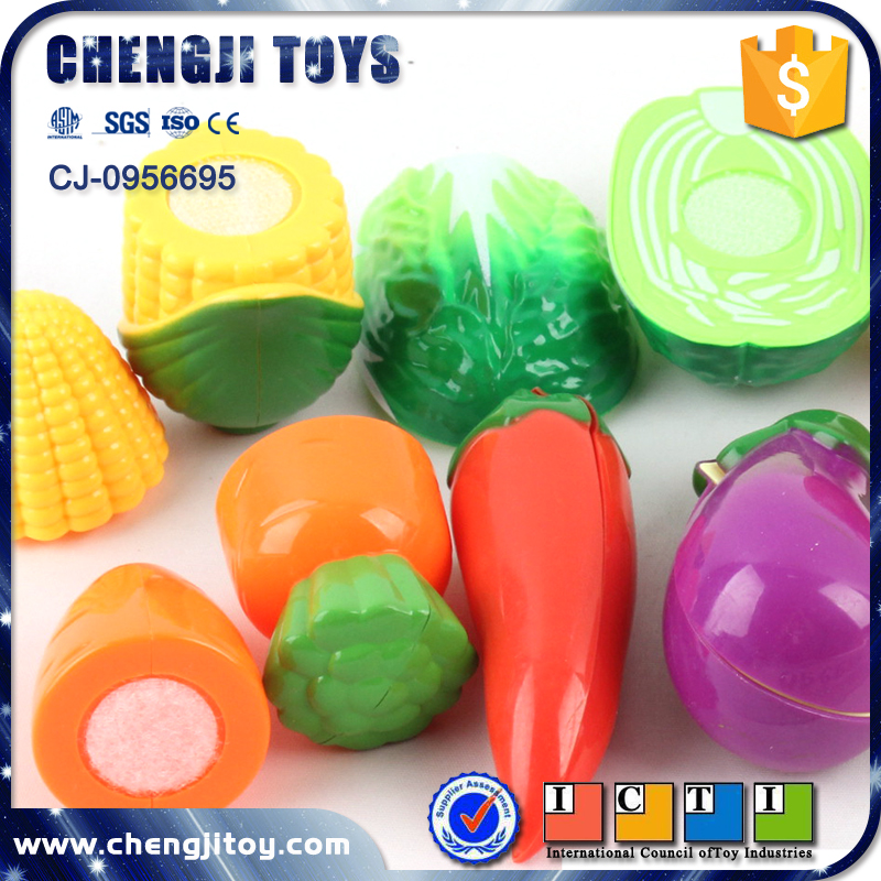 Kids plastic kitchen food play game set cutting vegetables toy for sale