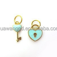 Hot sale newest style gold plated mix sky blue enamel heart lock and key with lobster clasp dangle floating charms