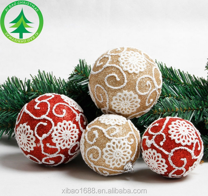 Dusting Powder Foam Christmas Ball with Stick Pattern, Beautiful Xmas Ball for Decoration