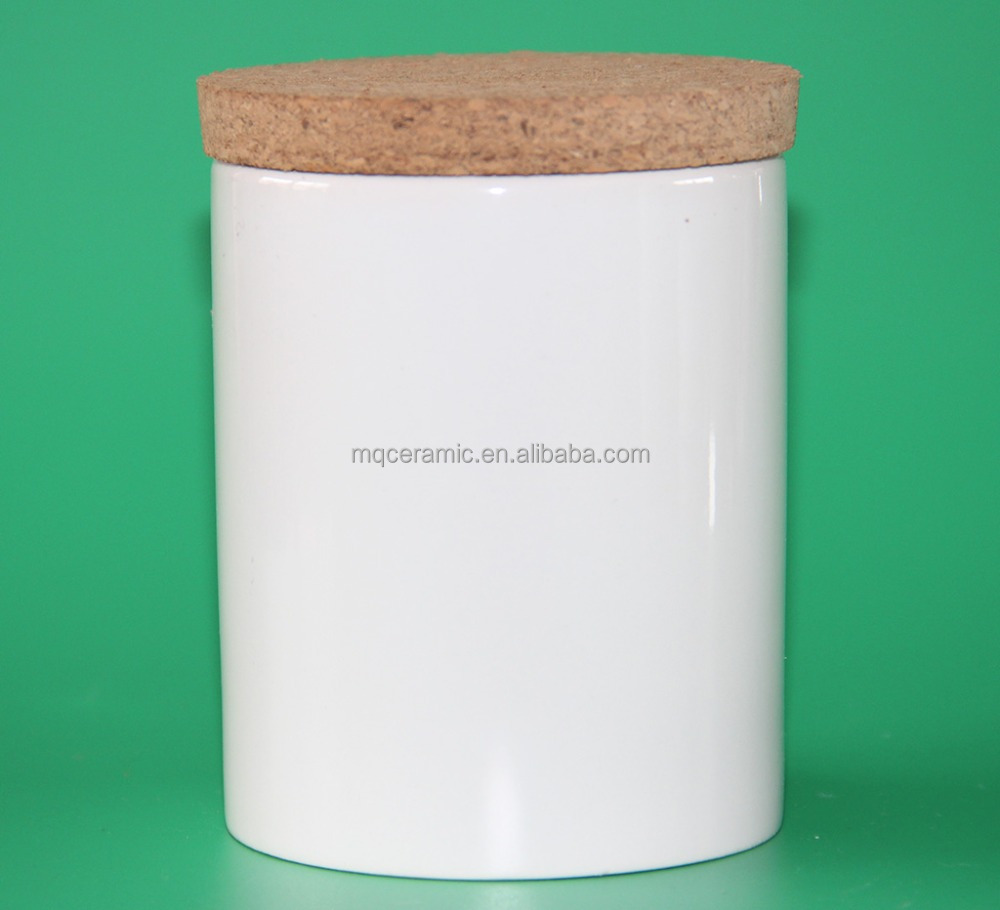 Ceramic canister with wooden lid