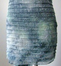 Latest New Design Crumple Lignt Blue 100% Polyester Ruffle Fabric