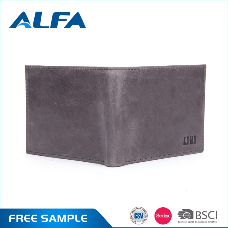 Alfa Best Selling Hot Chinese Products Vintage Brown Men Genuine Leather Wallet Card Holders