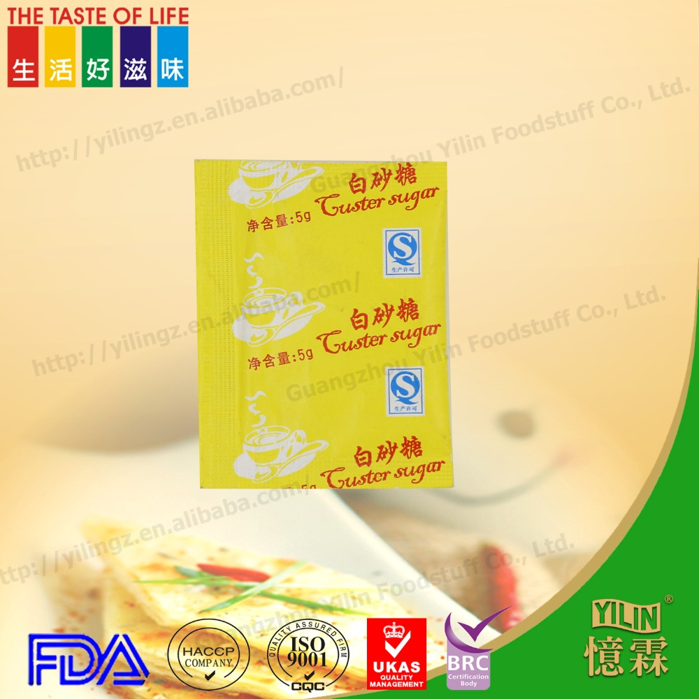 5g OEM refined regular white sugar in sachet for tea or coffee or airline use