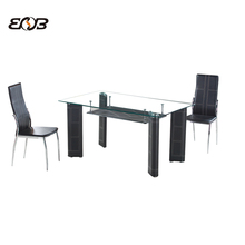 new upholstered faux pvc tempered top leather base rectangle Glass dining table and chairs for commercial