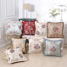Luxury embroidery Floral Cushion Cover Jacquard 100% polyester satin pillowcases