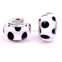 China Bead Manufacturers Black Polka Dot White Murano Glass Art Beads For European Bracelets