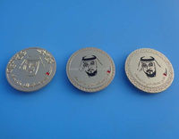 Engraved UAE King Face Gold Coin Badge for Shirt