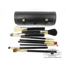Black cylinder makeup brush set with high quality