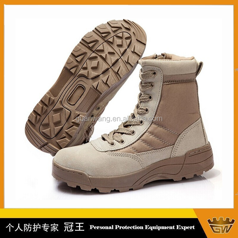Waterproof Suede Leather Upper Military Boots Desert Color Boots Army