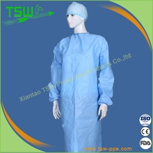 Dark blue disposable round neck hospital clothing patient gown