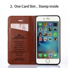 PU Leather Mobile Phone Stand Flip Case For iPhone 7 Back Cover