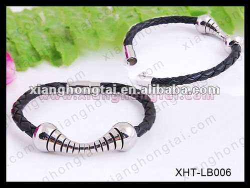 Men's stainless steel bracelet with black braided leather and a magnetic clasp