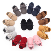 Cheap Wholesale Kid Casual Fashion Suede Leather Soft Sole Girls Prewalker Toddler Moccasins Baby Shoes