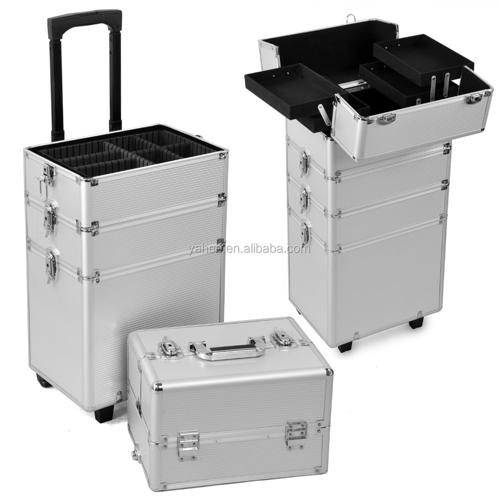 All in1 Aluminum Makeup Trolley Case Professional Cosmetic Trolley Case