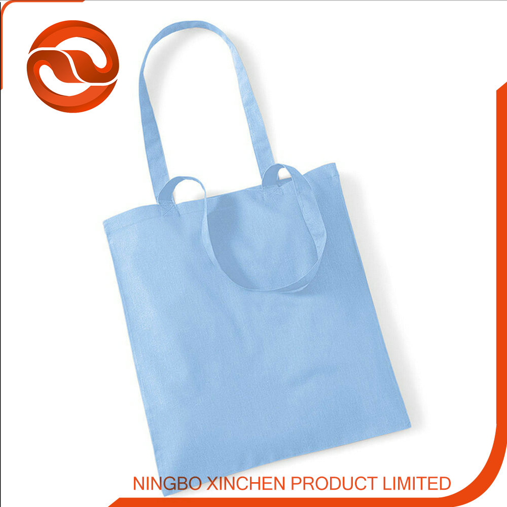 100% cotton light blue shopping cotton bag/canvas bag/canvas tote bag