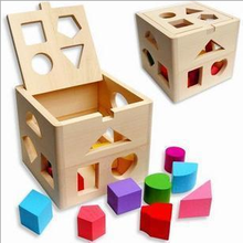 Early wooden educational toys 13 hole intelligence box shape matching pair