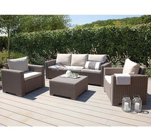 Outdoor relaxing sitting chatting furniture set pe rattan wicker 5 seater sofa