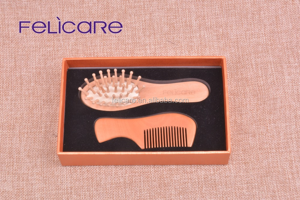 Wood and boar bristle baby hair brush and comb set