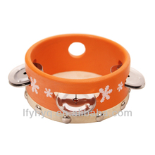 musical instrument drums tambourine with drum head skins