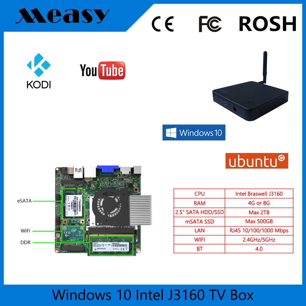 "Eglobal cheap Measy T8D Intel Core i3 mini pc with 4GB RAM 64GB SSD support 2.5"" SSD"