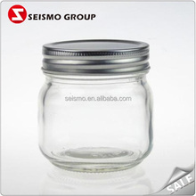 Sliver or Gold Aluminium Lid Thick Glass Honey Storage Containers