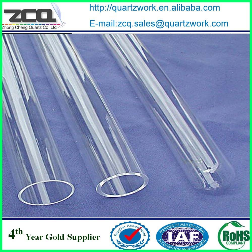 Custom large diameter both end open fused quartz or silica glass cylinders